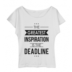 Koszulka damska z dekoltem The greatest inspiration is deadline