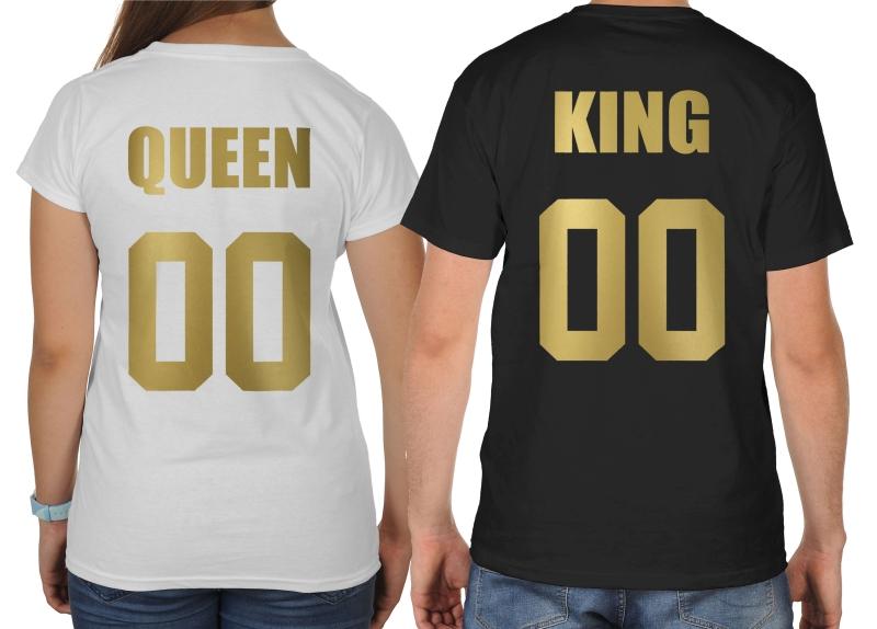 122d65bd5 Koszulki ze złotym nadrukiem dla par zakochanych komplet 2 szt Queen King +  numer