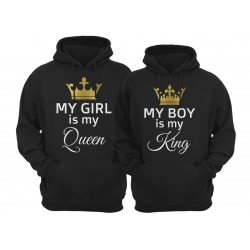 Bluzy dla par zakochanych z kapturem My boy is my King My girl is my Queen unisex