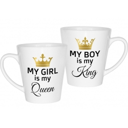 Kubek latte na walentynki dla par zakochanych komplet 2 sztuki My boy is my King My girl is my Queen