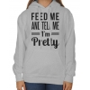 Bluza oversize z kapturem Feed me and tell me I'm pretty
