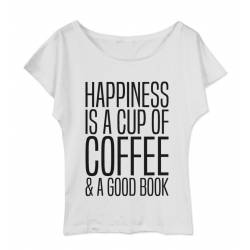 Koszulka damska z dekoltem Happines is a cup of coffee