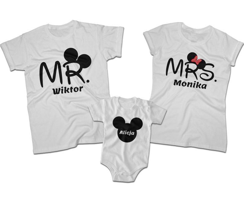 472280c9 Zestaw koszulek dla rodziców i córki Mr Mickey Mrs Mickey