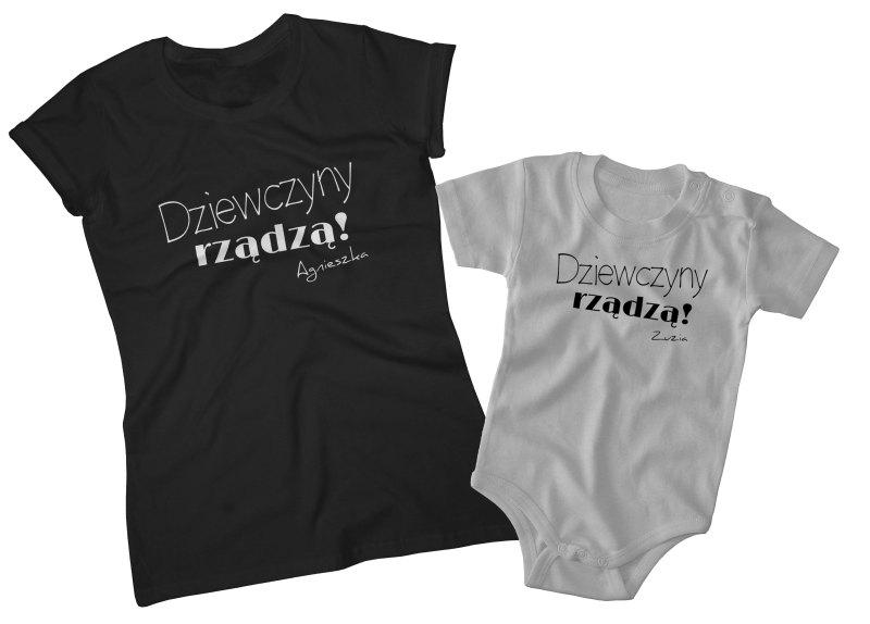 0bbb4f2e Zestaw Dziewczyny rządzą koszulka damska + body lub koszulka dziecięca dla  mamy