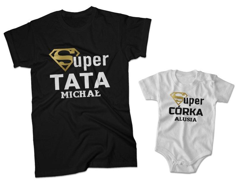 256013bb3b5a75 Zestaw koszulka męska + body Super tata Super córka + imię
