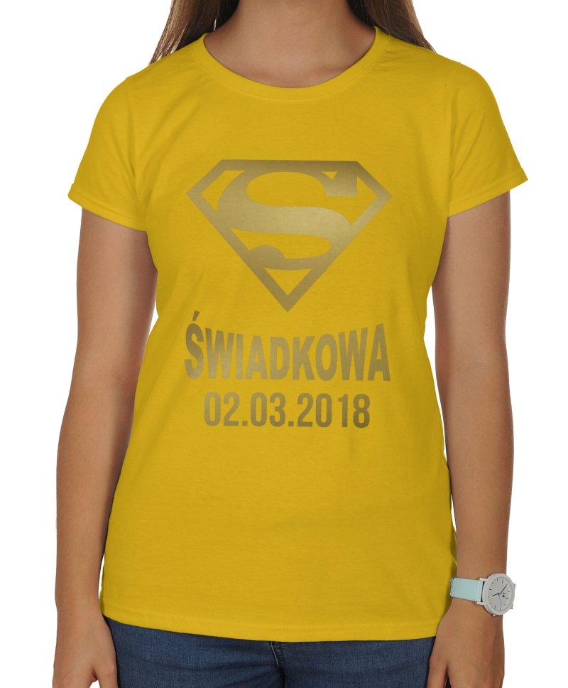 b517e37ba Koszulka dla świadkowej złoty nadruk Super świadkowa + data